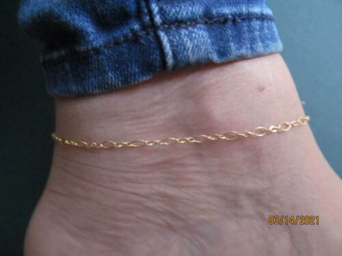 """Anklet, Solid Gold/Silver Mix, Length 9""""-10"""" (9433)"""