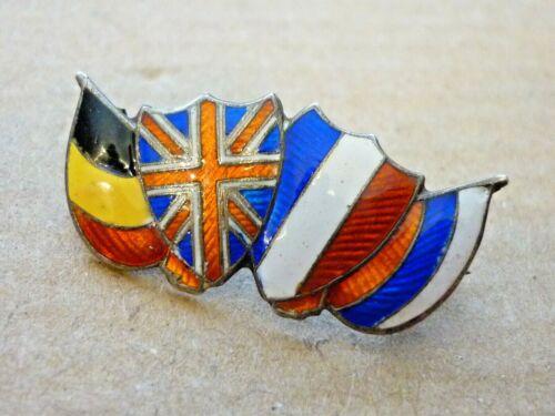 FINE ANTIQUE HALLMARKED SILVER ENAMEL BADGE WORLD WAR ONE ALLIES FLAGS c1914