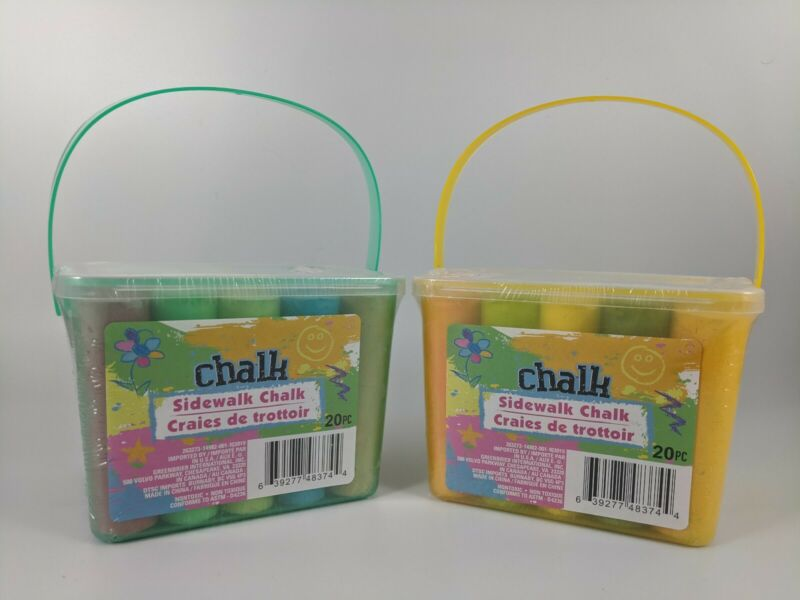 Kids Sidewalk Chalk With Bucket Set of 2 - 40 ct - Bulk Orders Available