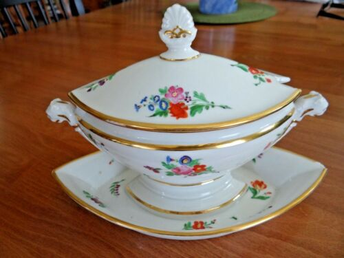 Old Paris Porcelain Sauce Tureen French Cameos Florals 1850-1865 France Plate