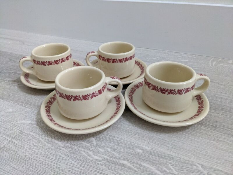 4 RARE Vtg Iroquois China Syracuse NY Restaurant Ware Red Leaf Coffee Cup Saucer