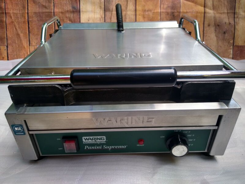 Waring WPG250 Panini Supremo Grooved Top & Bottom Panini Sandwich Grill