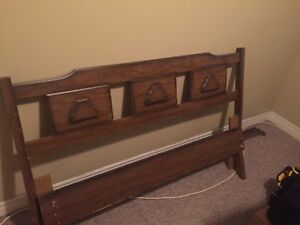 MAKE AN OFFER - Double headboard, footboard and connecting frame