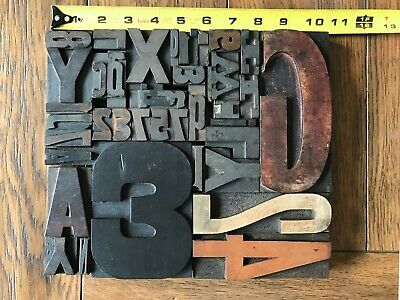 Letterpress Print Type Wood Letter And Number Group - 40 Pieces