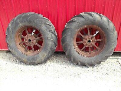 Mccormick Deering Farmall 1020 Ih Tractor Orignl Pair Rear Rims Hubs 13-28 Tires