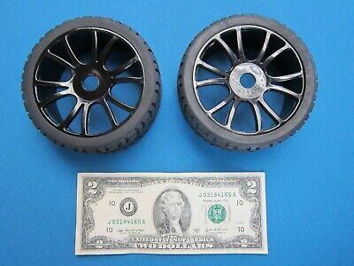 2 RC CAR WHEELS & TIRES SET 1/8 ON-ROAD RALLY BUGGY GT 17MM HEX RIM TYRE -