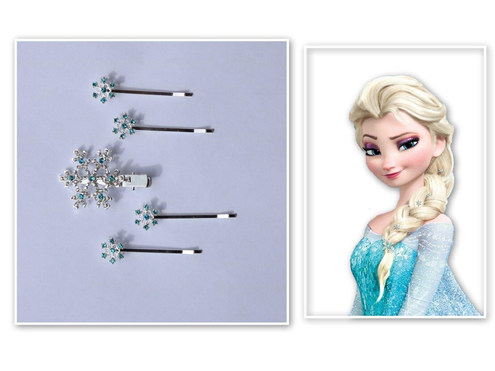 Haarspangen Schneeflocken Eiskönigin Frozen Elsa Haarklammern Silber blau 6 Stk.