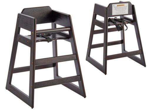 Wood High Chair Stacking Ready-to-Assemble with Dark Finish Restaurant Compliant