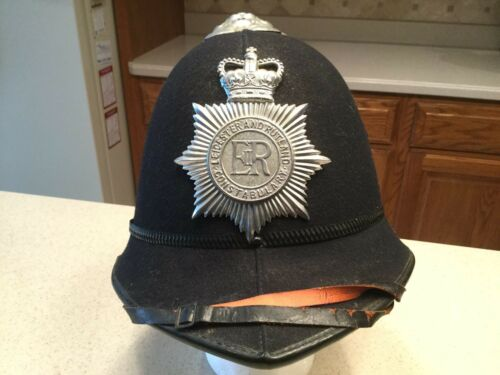 Vintage ER Leicester And Rutland Police Bobby Constabulary Hat Helmet 8 1/8