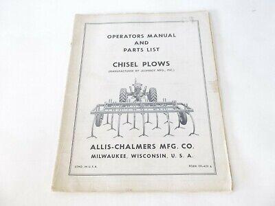 Allis Chalmers Chisel Plows Operators Manual Parts List
