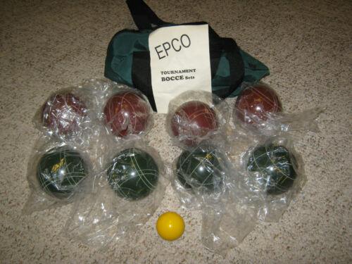 EPCO TOURNAMENT PREMIUM QUALITY BOCCE BALL SET-RED-GREEN BALLS-FREE SHIPPING