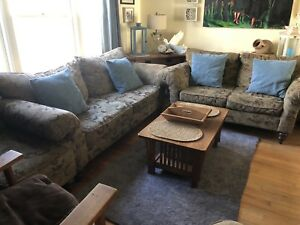 Matching sofa, love seat, arm chair, ottoman, cushions