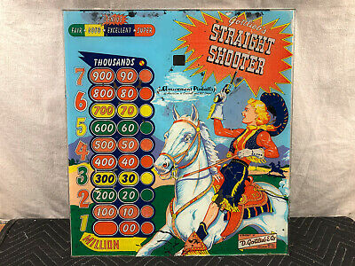 Gottlieb Straight Shooter Pinball Machine Game Backglass