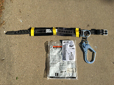 Miller Honeywell Large 37.5-45.5 Long Safety Body Belt W D-ring Rebar Hook
