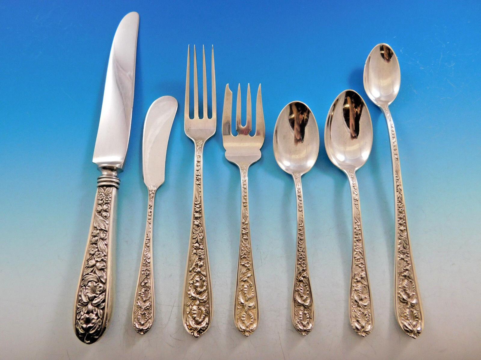 Set of 4 Stieff Corsage Salad Forks Vintage Sterling Silver Estate Flatware