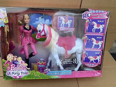 Barbie and her Sisters in a Pony tale RC Train and Ride Horse