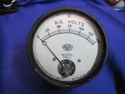 Industrial Roller Smith Volt Meter Gauge 3 34 Vintage Stempunk To 150 Volts