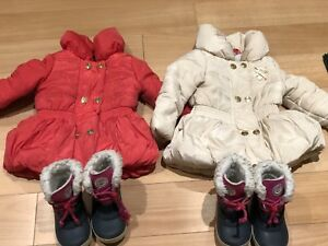 Girl twin luxury winter coat and boots