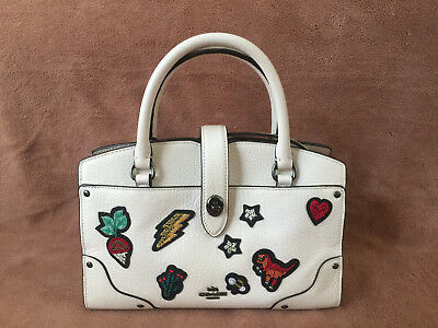 NWT Coach 57722 Mercer 24 Souvenir Embroidery Leather Satchel Chalk White