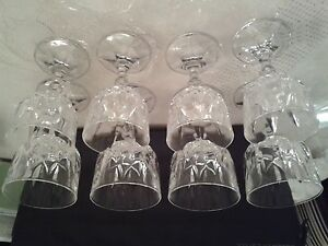4 Crystal Wine Glasses and 4 Crystal Liqueur Glasses