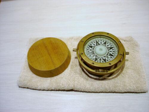 "Antique Nautical  Brass Compass with Pedestal / 5.25 "" Dia. Dial - 5 lbs ."