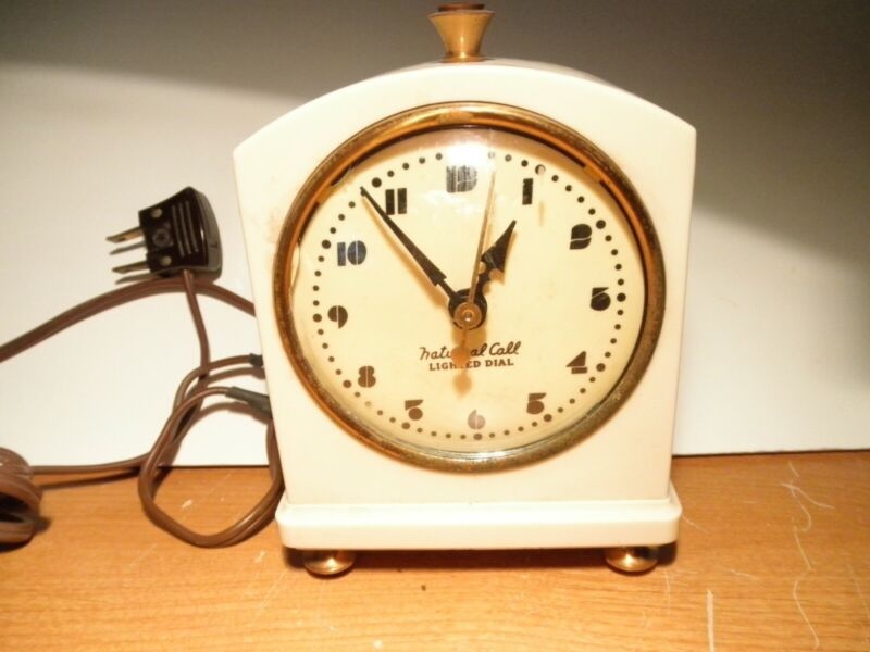 VTG. HAMMOND SYNCHRONOUS DELUXE FIREFLY #312 ELECTRIC ALARM CLOCK  *WORKS*