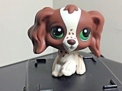 Littlest Pet Shop Cocker Spaniel #156 Puppy Dog Brown White Freckles Raised Paw