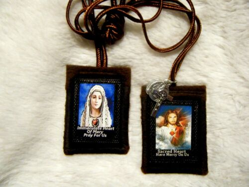 Sacred Heart of Jesus Immaculate Heart of Mary Handmade Scapular 100%Wool