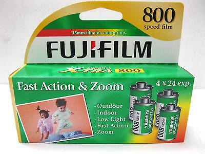 4 Roll Box  Fuji Fujifilm Superia X-TRA 800 24 Exp Color Print 35mm Film 02/2017