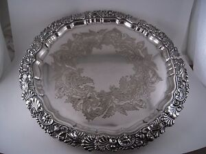 Fine Antique English Silver Rococo Footed Serving Tray Deykin & Harrison  c 1895