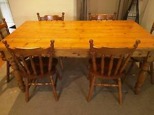 Baltic pine dining table and 6 chair set Highton Geelong City Preview