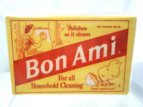 VINTAGE 1940s BON AMI CLEANSING POLISHING BAR 9 1/2 OZ MINT COND GREAT GRAPHICS
