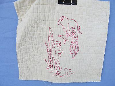 Antique Redwork Victorian era 1 Bird and Frog Embroidered Quilt Block