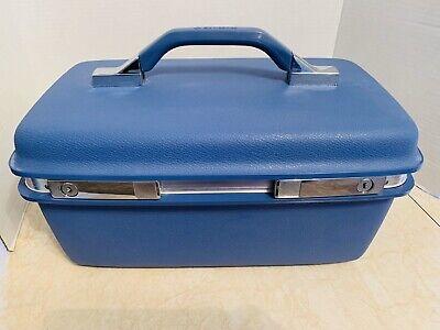 Vintage Samsonite Montbello II Blue Traincase W/Tray, Mirror, Key-Clean!