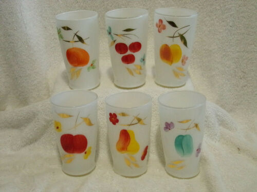 6 Bartlett Collins Gay Fad Frosted Drinking Glasses Tumblers Fruit Floral Exc