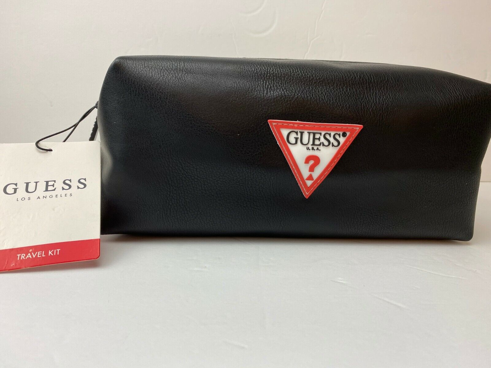 NWT Guess Los Angeles Men's Travel Kit Black Leather Toiletr