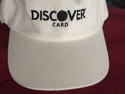 Discover Card Embroidered Cream Ivory Off White Buckle Cap Hat Credit Strapback
