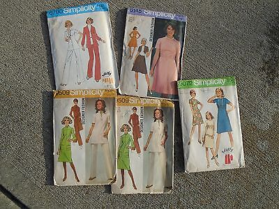 Vintage lot 5 Sewing patterns dress Simplicity size 14 Retro 1970s Fashion Jiffy