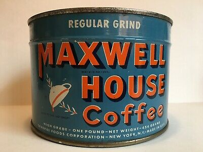 UNOPENED Vintage Maxwell House Coffee Tin Can General Store Sign Old Advertising