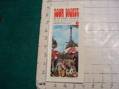 Vintage CLEAN brochure: TOUR DIGEST from MAUPINTOUR 1971 ideas