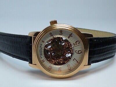 Stuhrling Original Men's Skeleton Automatic Watch 39mm Case Rose Gold Tone