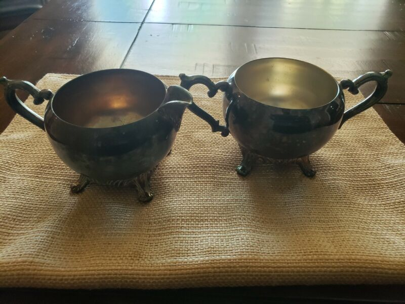 Vintage Silver Plated Pewter - Cream And Sugar Bowl Set
