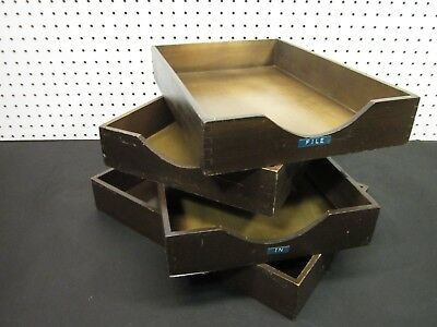 Lot 4 Vintage Wood Desk Organizer Tray Dovetail Wood Office In Out Box Letter S4