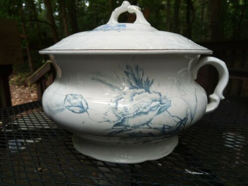 Antique Porcelain Chamberpot w/Lid by Knowles, Taylor & Knowles Ohio - Blue Rose