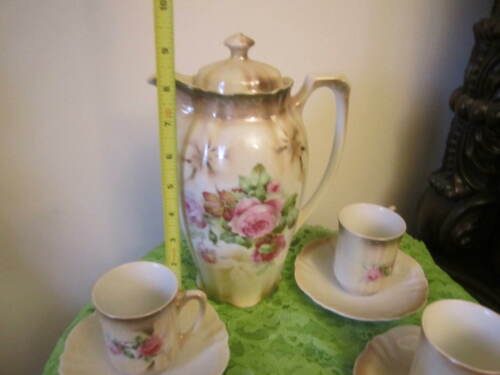 Vtg Chocolate Pot Set Hand Painted Roses Two Tone BAVARIA 4 Cups & Saucers