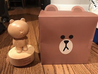 Authentic And New In Box Licensed Line Friends Bear Music Wooden Stand (Line Musical Box)