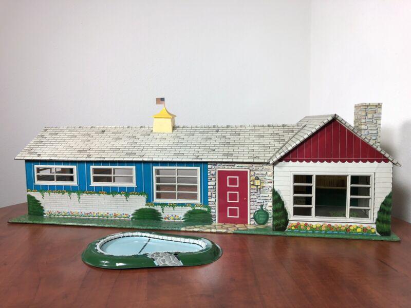 Marx 1953 California Ranch w/Pool Doll Doll House Tin Metal Antique