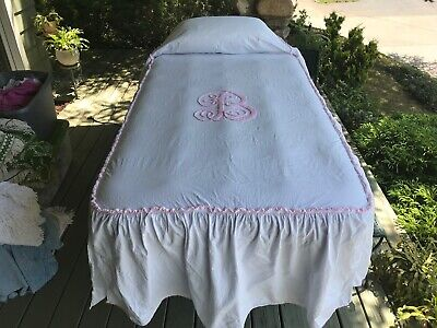 PINK Initial B on wh seersucker SKIRTED CABIN CRAFT VINT CHENILLE BEDSPREAD NU, used for sale  Rye
