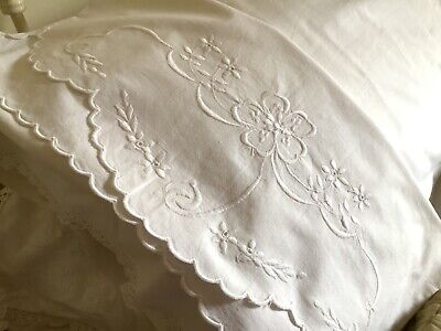 Vintage White Heavy Cotton Embroidered Bolster Case matching pillowcase
