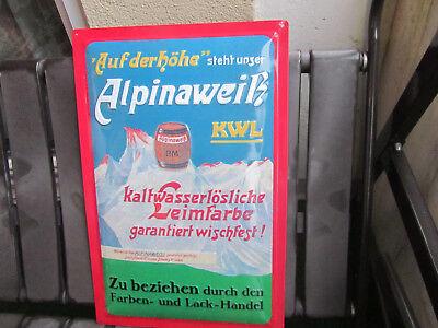 Blechschild Alpinaweiß KWL   Gr    60x 40cm